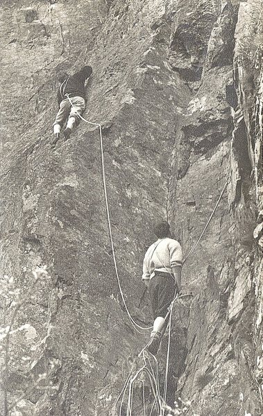 Rock Climbing Photo: Paul Ross and Alan Campbell on the second pitch.Ph...