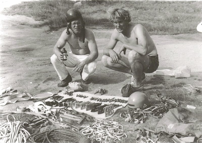 Mike Peloquin and John Bragg below Canon preparing for the first ascent of The Ghost and Vertigo. 1971. Photo Paul Ross