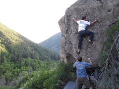 Rock Climbing Photo: Chris (climbing) and Aren Sorensen playing around ...