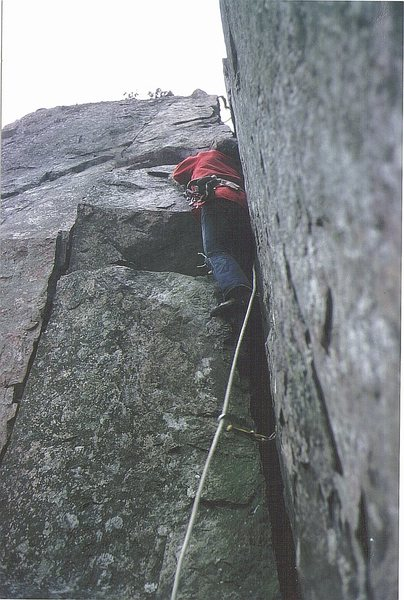 John Syrett on Post Mortem 1974. Nasty leg damage resulted from this succesful ascent