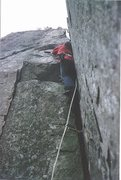Rock Climbing Photo: John Syrett on Post Mortem 1974. Nasty leg damage ...