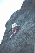 Rock Climbing Photo: Dave Birkett starting up FA of Flagship 1995.Photo...