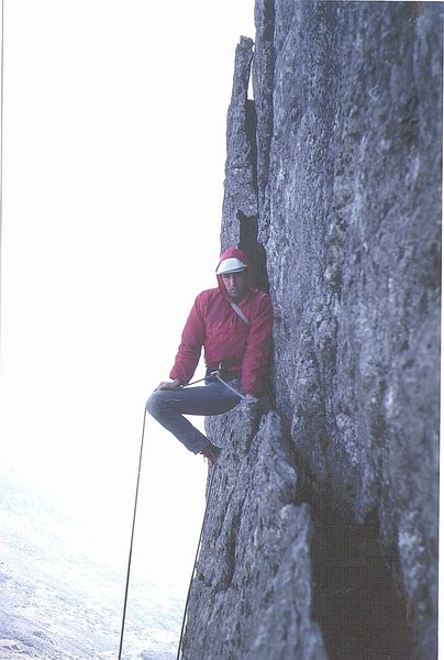 Rock Climbing Photo: Henry Barber on the Great Flake ,Central Buttress,...
