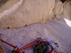 Rock Climbing Photo: The righthand (aid) path of P12. Excellent aid pit...