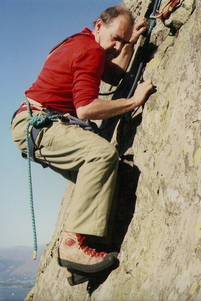 Pete Greenwood on FA Last of the Summer Wine 1989. In the 1950's Pete was one of the top rock climbers in the country