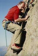 Rock Climbing Photo: Pete Greenwood on FA Last of the Summer Wine 1989....