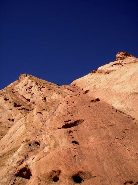 Rock Climbing Photo: Looking up the last pitch.