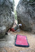 Rock Climbing Photo: Moving from the steep start to the delicate mantle...