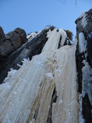 Rock Climbing Photo: High on the route, standing on the fracture. Photo...