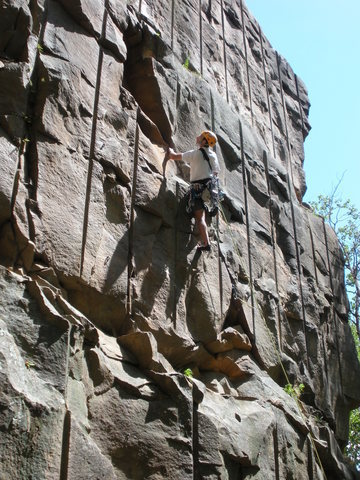 MY Dad Peter trad leading the unnamed 5.9 crack