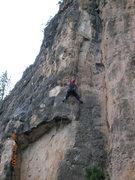 Rock Climbing Photo: My mom following a sweet 5.9