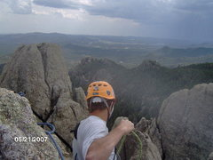 Rock Climbing Photo: View from the top of Spire Four with a storm on th...