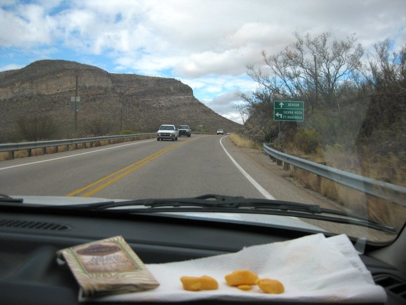 Bye bye Arizona; enjoying fresh Wisconsin cheese curds (thanks sqwirll from MP!!), and chocolate on our drive home to Vegas. Mmmm, cheese, and chocolate.<br> <br> 12/14/09