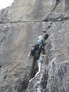 Rock Climbing Photo: Crux of Infidlity.  You won't believe the tool pla...