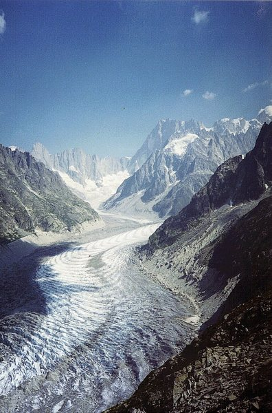 The Mer de Glace glacier above Chamonix with the Grandes Jorasses at the head of the photo.
