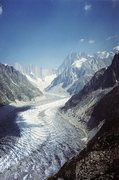 Rock Climbing Photo: The Mer de Glace glacier above Chamonix with the G...
