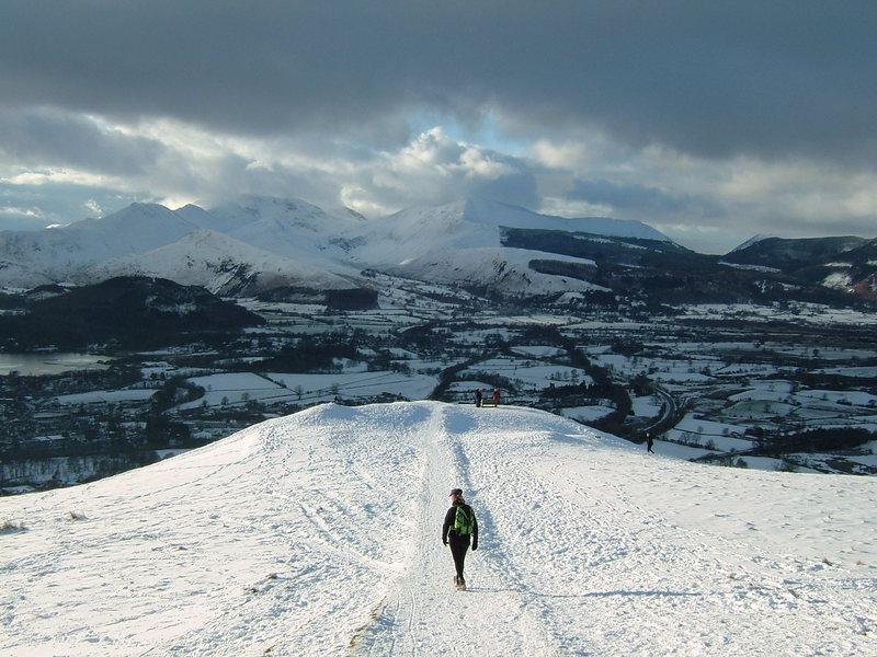 Christmas Day 2009 . Hiking on Latrigg above Keswick .Photo Pete Armstrong
