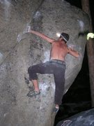 Rock Climbing Photo: Misha, night sess. action.