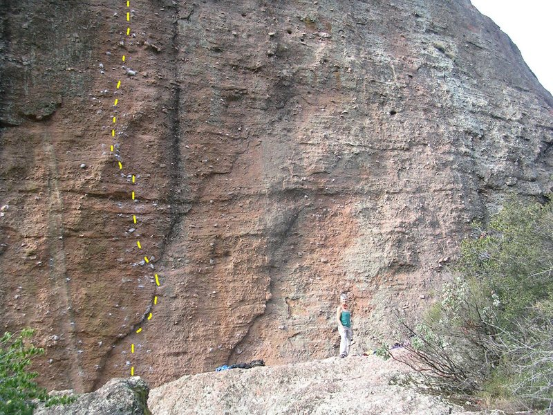 Monolith up close.  The yellow dashes mark P.O.D, 5.11a.  <br> <br> Wild lieback move to the first bolt!  <br> <br> 12-17-09  When the rest of the USA was in the deep freeze.