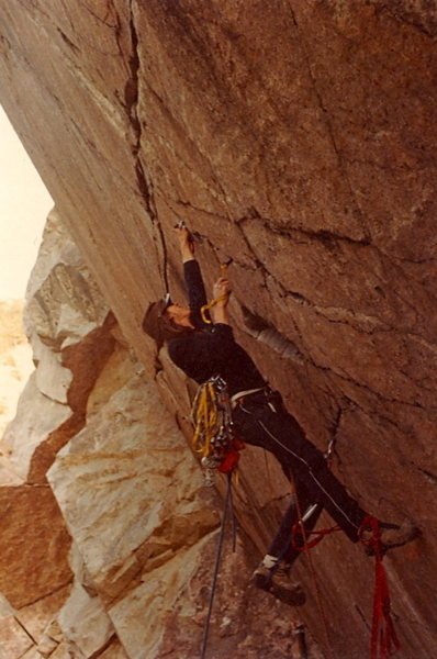 Kyle Copeland - FA / Teflon Wall - Boulder Canyon 1982.<br> <br> Photo: Marc Hirt.