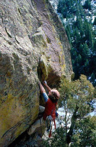 Rock Climbing Photo: Joe Huggins on Velvet Hammer -  1981 No Cams!  Pho...