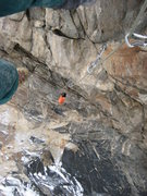 Rock Climbing Photo: looking down the long overhanging section of Macho...