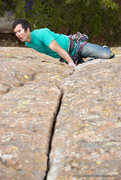 Rock Climbing Photo: Onsighting the classic oklahoma gear route, RA.  a...