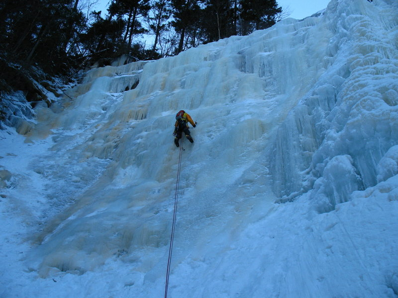 D. Albers climbs Arethusa Falls - Main Falls Left.<br> photo by J. Albers