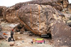 Rock Climbing Photo: Strength In Numbers West Face Topo