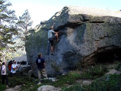 Rock Climbing Photo: Ben bouldering on the way up to Grouse Slab, Augus...