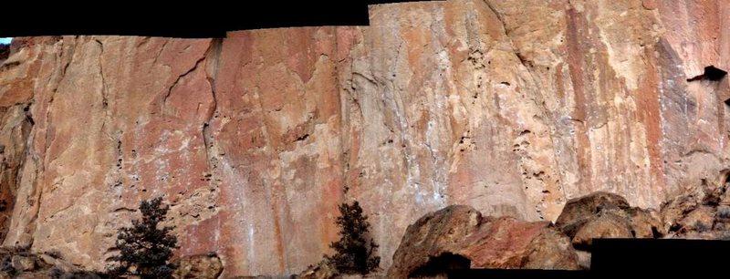 Rock Climbing Photo: Stitched panorama of Morning Glory Wall.