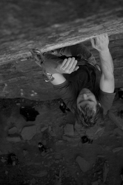 Ander makes his way to the top of this amazing 12b, (I forgot the name of the route) at the Red.