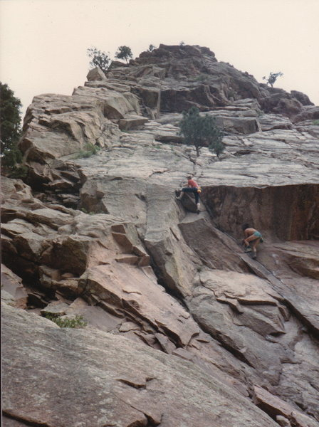 "Derek and friend (Gary Ryan?)  on part of his ""bouldering"" circuit...  mid '80s."