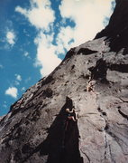 Rock Climbing Photo: My first 5.10 lead...  summer '85 (also my first l...