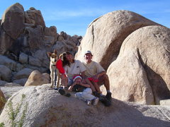 Thanksgiving in Joshua Tree,2009, hosted by the Arizona Mountaineering Club. Tiina, Emily, John & Tutu