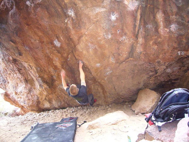 Drilled Pockets V5 Left, at the Silverbell boulders, Tucson, AZ