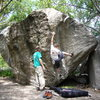 A picture of Lance's Dihedral, V6, Copperhead Boulder, Little Cottonwood Canyon, UT