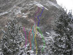 Rock Climbing Photo: Binge Side routes at Creekside, including Brennivi...