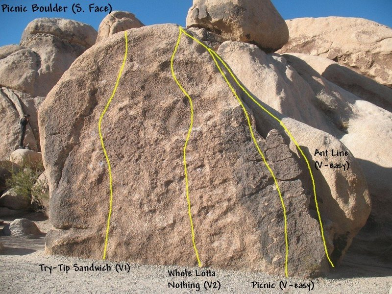 Photo/topo for the Picnic Boulder (South Face), Joshua Tree NP