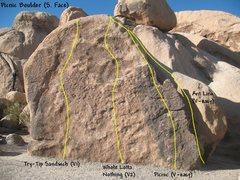 Rock Climbing Photo: Photo/topo for the Picnic Boulder (South Face), Jo...