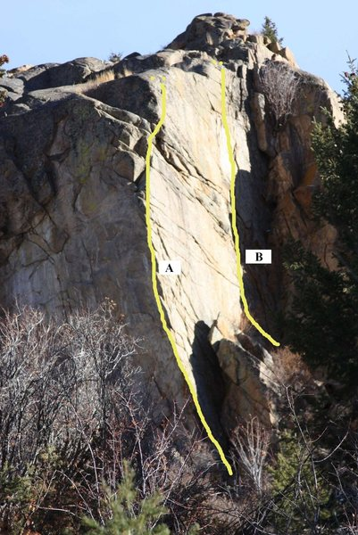 Rock Climbing Photo: Saxon Rock showing (A) The Saxon Arete and (B) Wan...