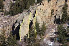 Rock Climbing Photo: Overview of SR showing (A) The Saxon Arete, (B) Wa...