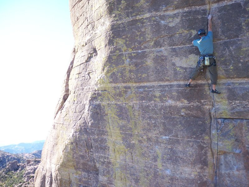 David Merin on the first redpoint of this climb using nothing but trad gear.  He skipped the four bolts and you can spot one if you look close.
