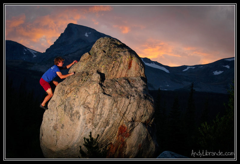 Beautiful sunset over the Indian Peaks. Alpenglow Boulder, Camp Dick. 8/22/09.