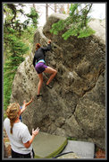 Rock Climbing Photo: Brea on an excellent, easier problem on the Pyrami...