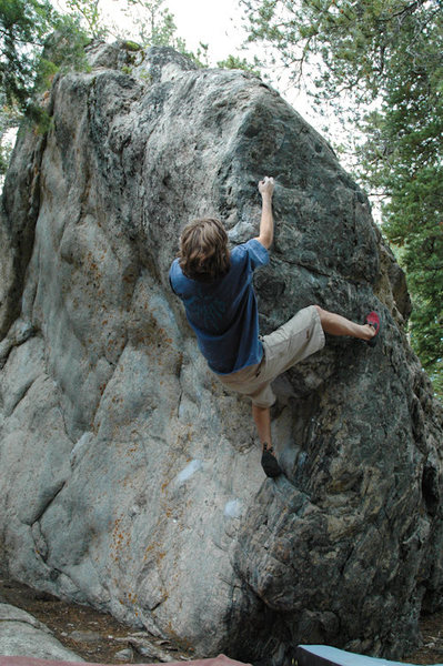 Mr. Clean (V7) follows the prow on the Pyramid boulder. 7/24/2005.