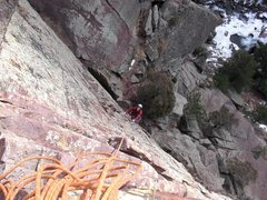 Rock Climbing Photo: First Pitch of Allosaur. Photo: Presley