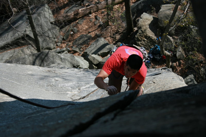 Rock Climbing Photo: Following on pitch 1.