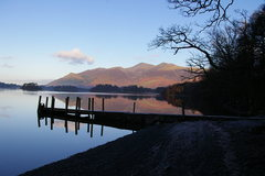 Rock Climbing Photo: Looking north down Derwent Water towards the town ...