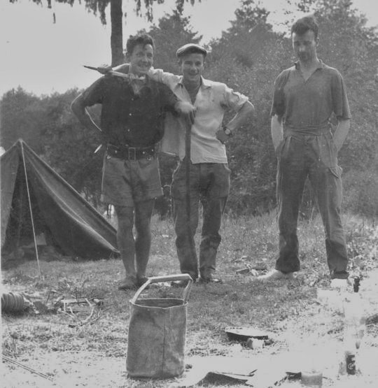 Historic photo ! . Chamonix camp site 1959.L to R. Eric Rayson,Paul Ross,Geoff Oliver.  Photo Eric Rayson